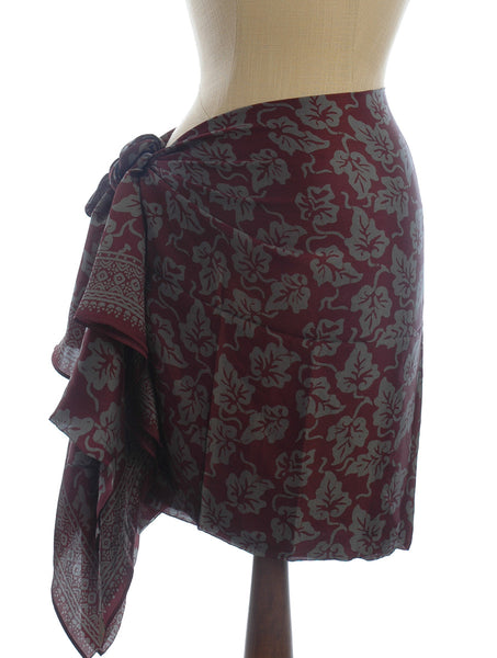 Pure Silk Short Sarong/Scarf in Leaves on Deep Plum