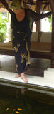 Gold on Black Silk Dragonfly Batik Sarong/Wrap
