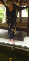 Hand Batik Printed Gold on Black Dragonfly Sarong/Wrap