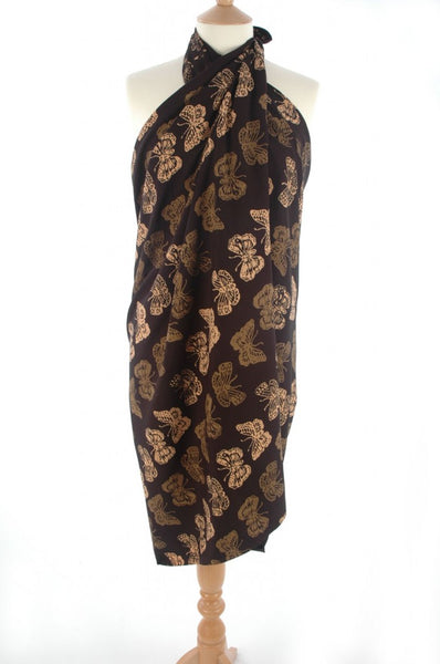Gold on black butterfly batik sarong