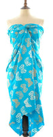 Gold and turquoise butterfly batik sarong