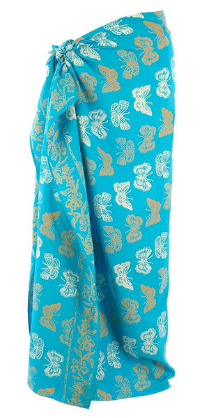 Gold on Turquoise Bali Butterfly Batik Sarong  177x110cm