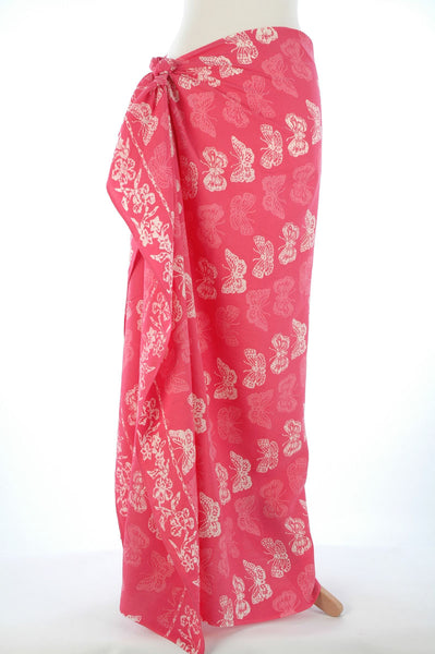 Pink Butterfly Hand Made batik sarong and wrap by Your Sarong
