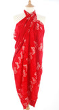 Red and white butterfly Hand Made batik sarong and wrap by Your Sarong