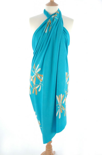 Hand Batik Printed Gold on Turquoise Dragonfly Sarong/Wrap