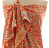 New Buds in Papaya and  Lime Batik Sarong