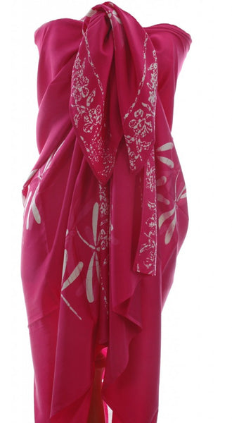 Deep pink dragonfly batik sarong in pure silk from Your Sarong
