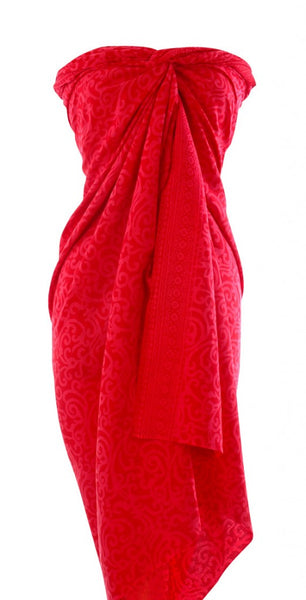 Glamorous red Hand Made batik sarong and wrap by Your Sarong