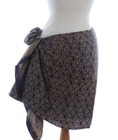 Silk Java Botanical on Navy Batik Short Sarong/Scarf 180x50cm