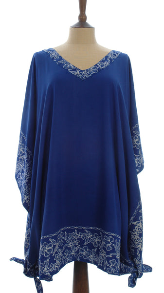 Royal blue Kaftan with a White Bali flower Batik Border from Your Sarong