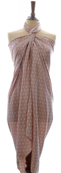 A pink gold Hand Made batik sarong and wrap in pure silk by Your Sarong