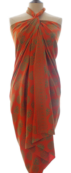 Pineapple batik sarong in tangerine and green