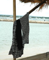 Black and White Bali Leaf Batik Sarong