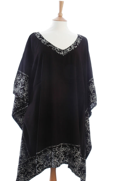 Black Kaftan with a White Bali flower Batik Border from Your Sarong