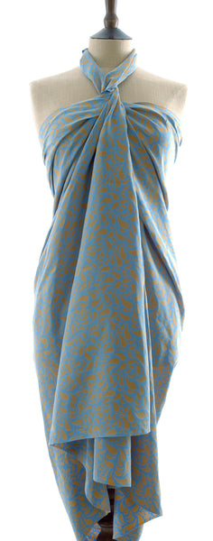 Gold on soft blue Hand Made batik sarong and wrap by Your Sarong