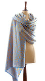 Gold on Duck Egg Blue Pearl Drop Batik Sarong