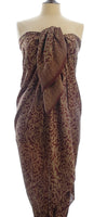 Chocolate gold Hand Made silk batik sarong and wrap by Your Sarong