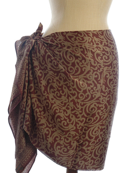 Pure silk Golden Chocolate Short Sarong/Scarf 180x50cm