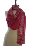Pure Silk Short Sarong/Scarf in Red with Cream Bali Flower Border