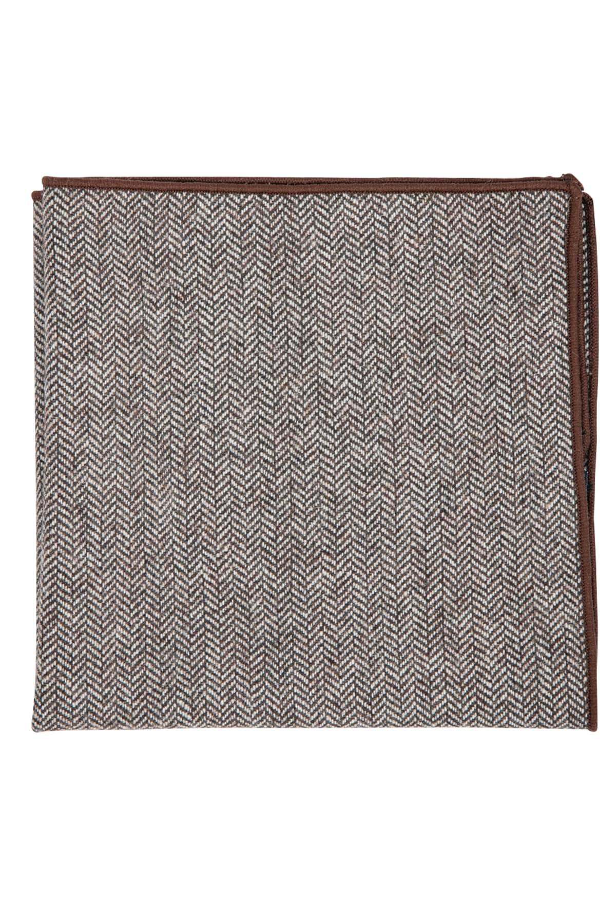 Brown Herringbone Pocket Square