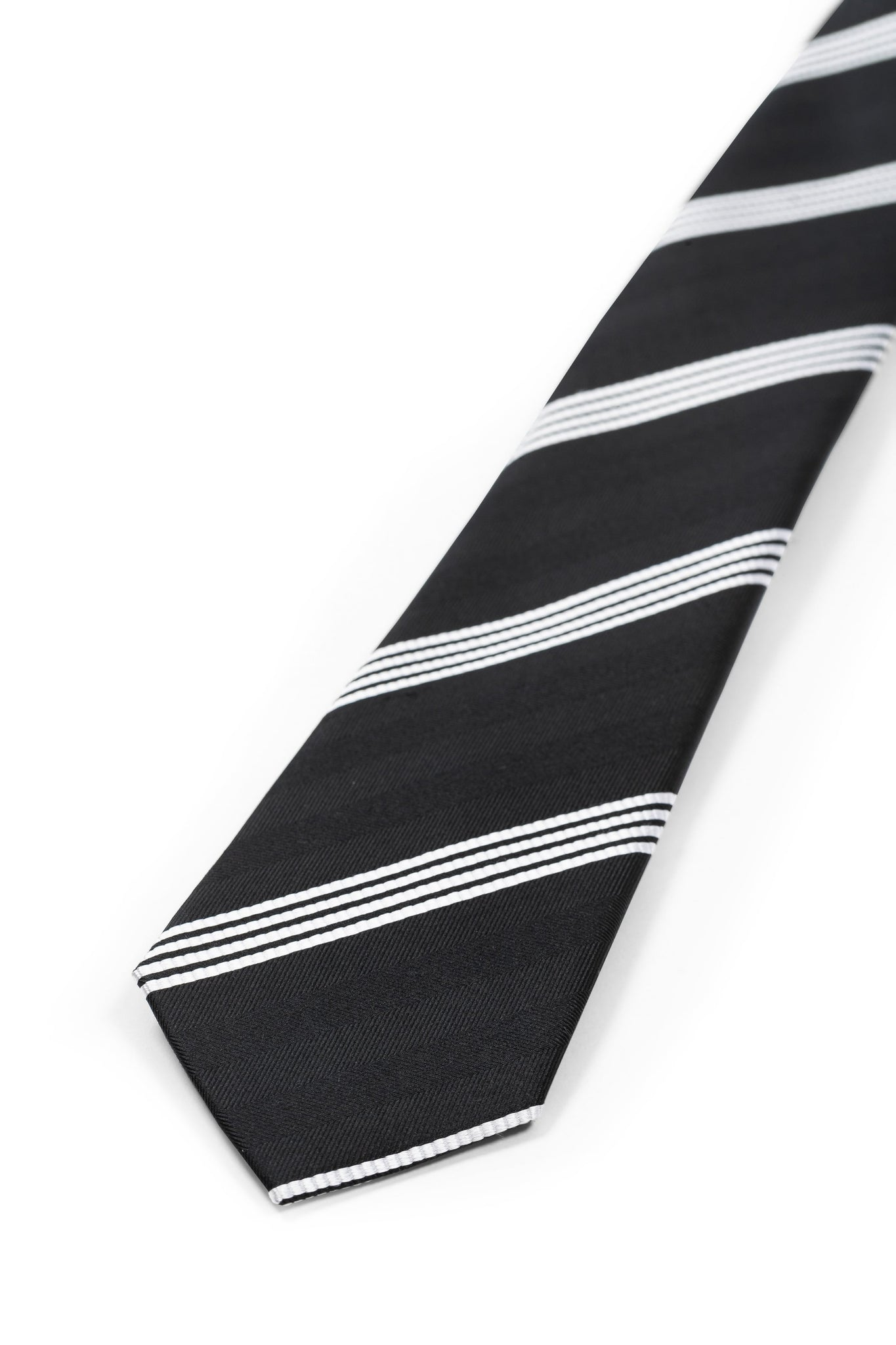 Classic Black Striped Silk