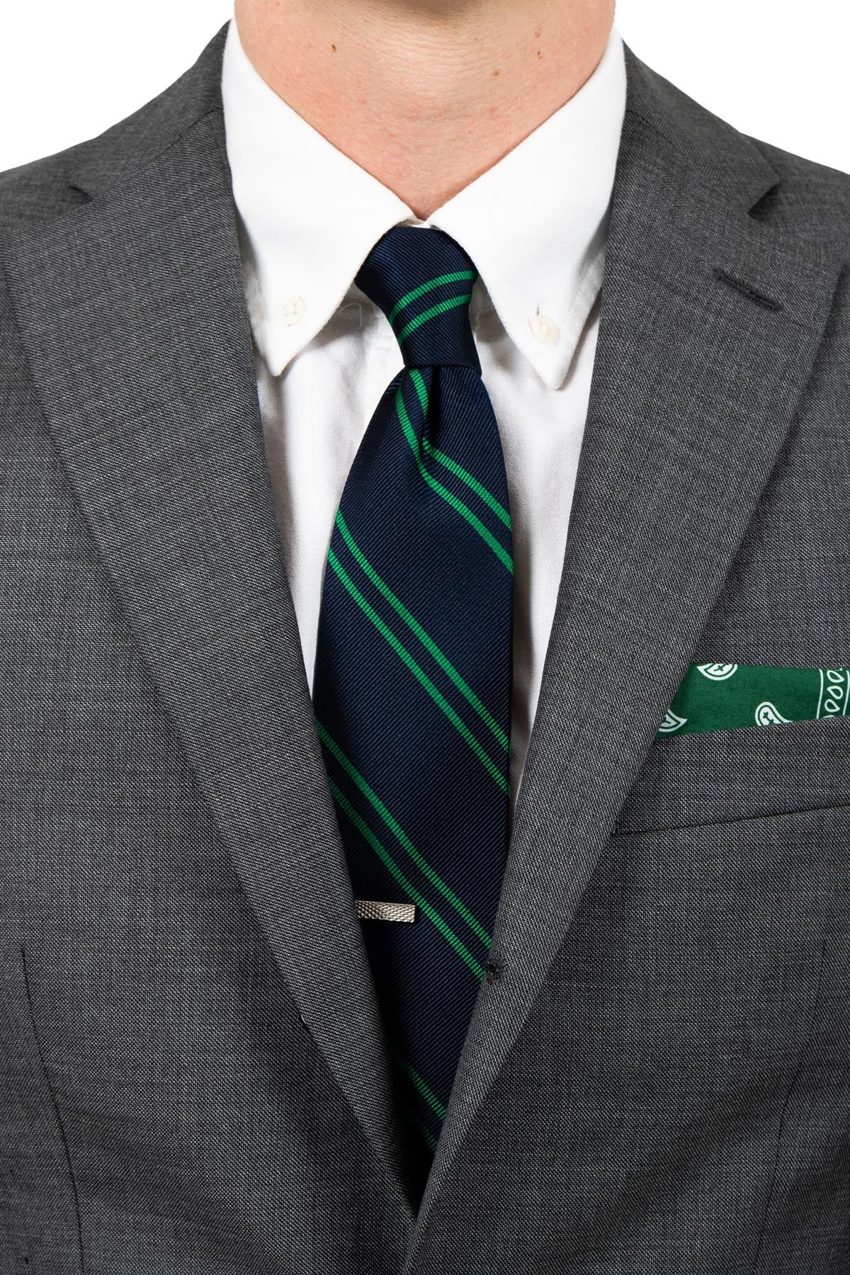 Navy/Green School Tie