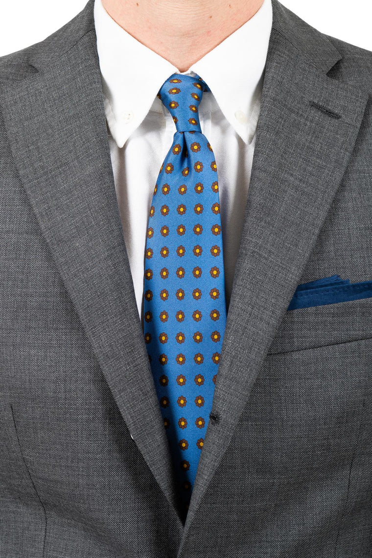 Light Blue Flower Silk Tie