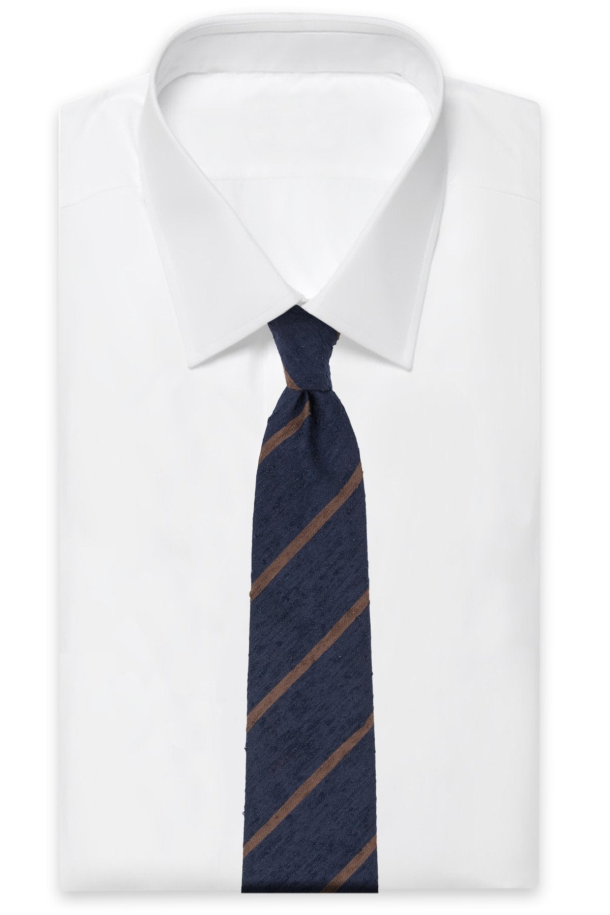 Navy Brown Striped Shantung Tie