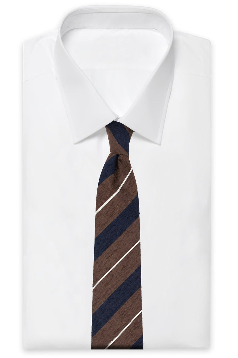 Brown Navy White Striped Shantung Tie
