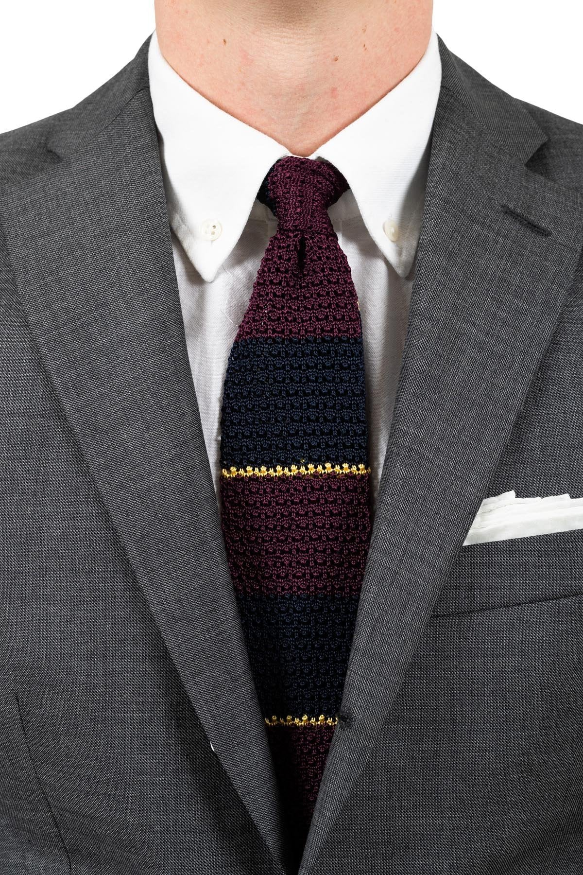 Burgundy Navy Silk Knit Tie