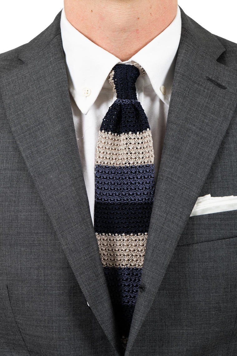 Colorblock Silk Knit Tie