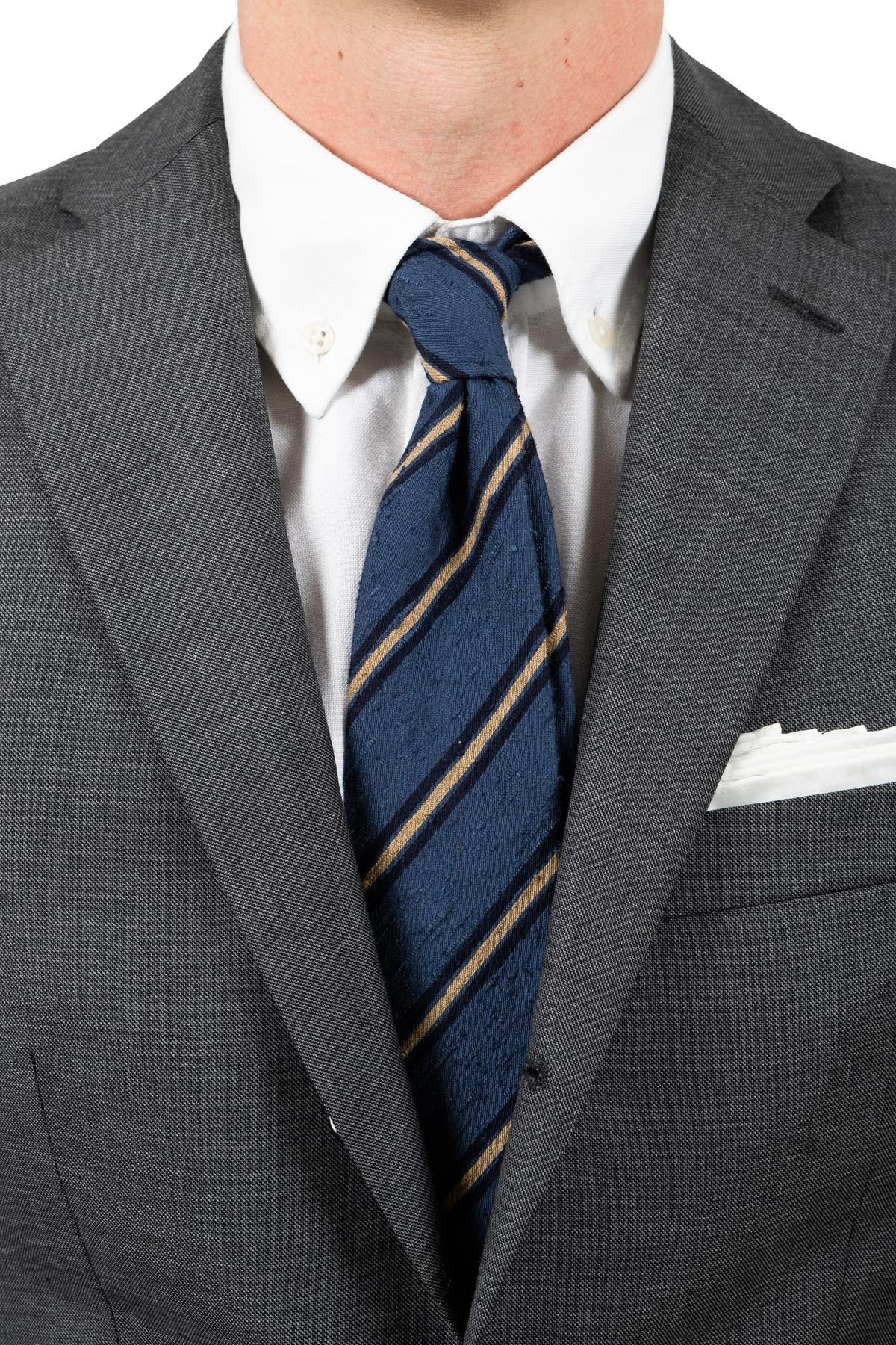 Dusted Blue Striped Shantung Tie