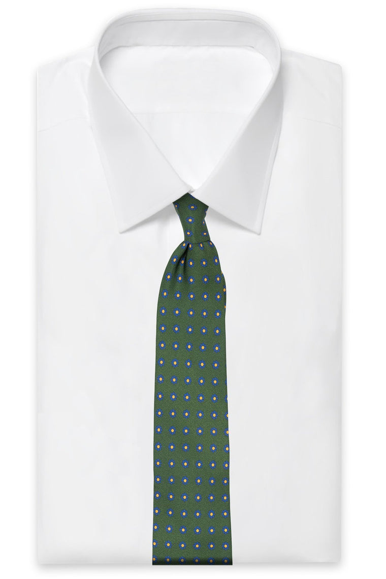 Green Flower Silk Tie