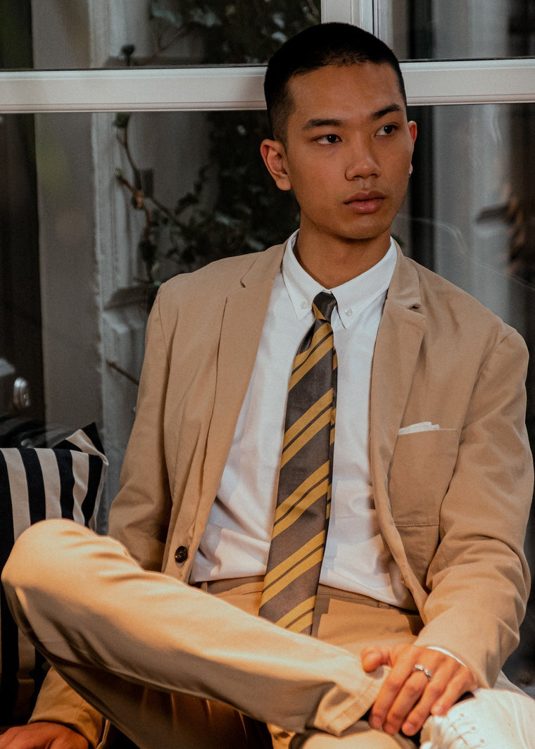 L2 x AN IVY Olive Striped Tie
