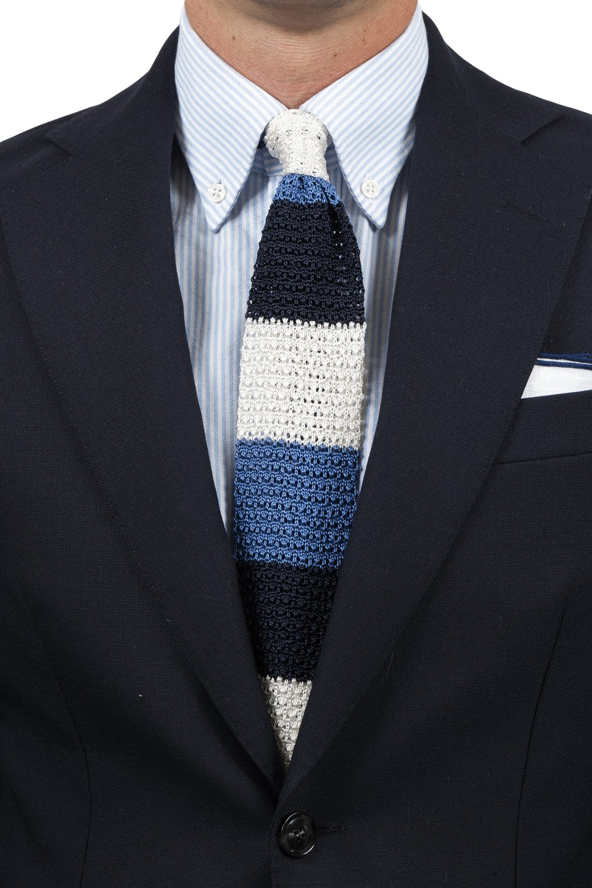 Navy Blue Off White Silk Knit Tie
