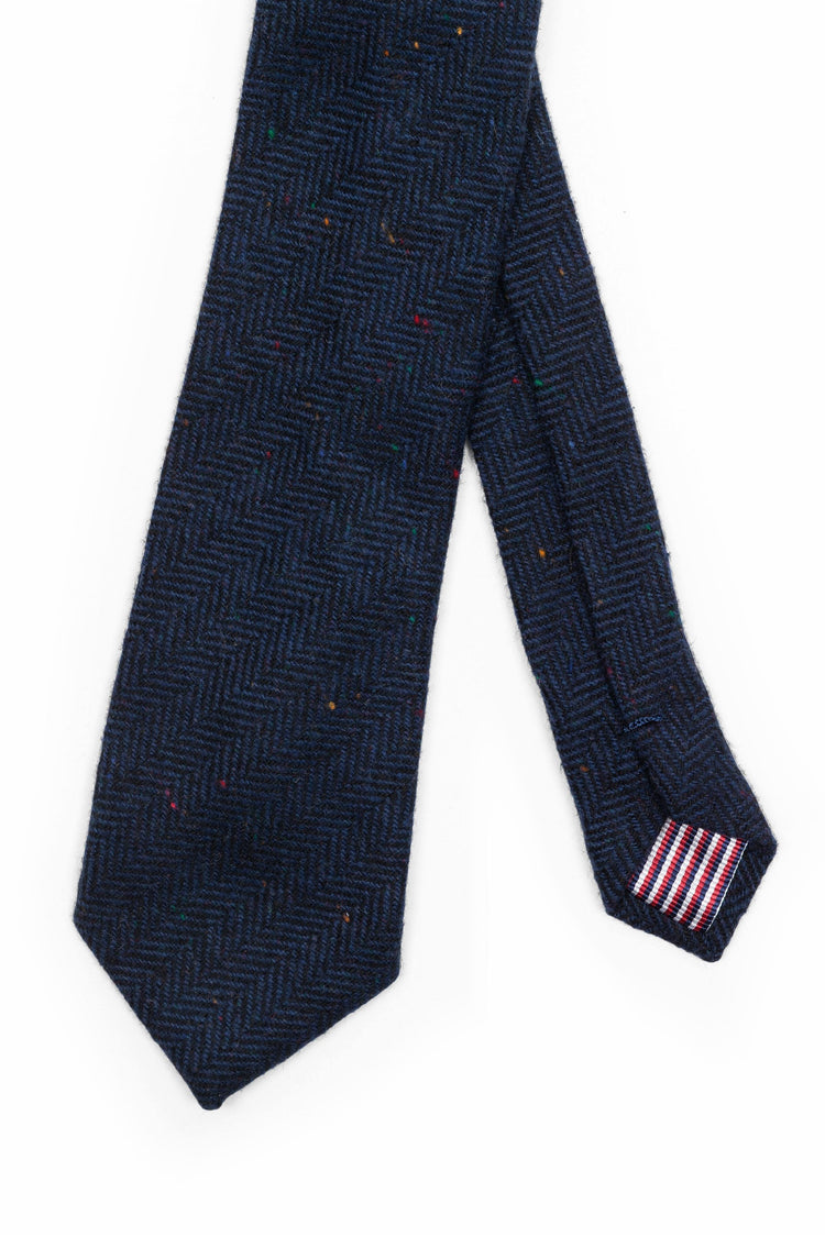 Navy Herringbone Wool Tie