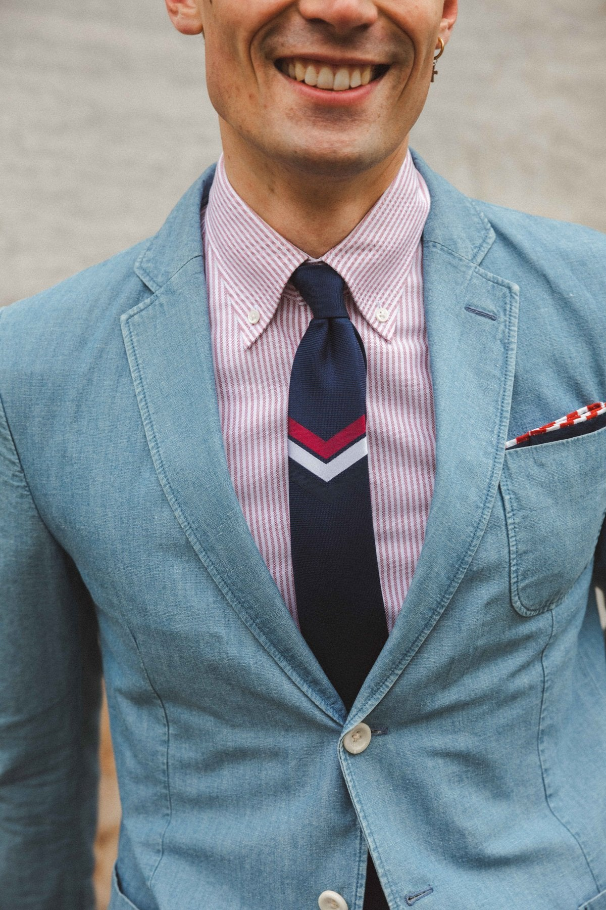 Navy Signature V Flag Tie