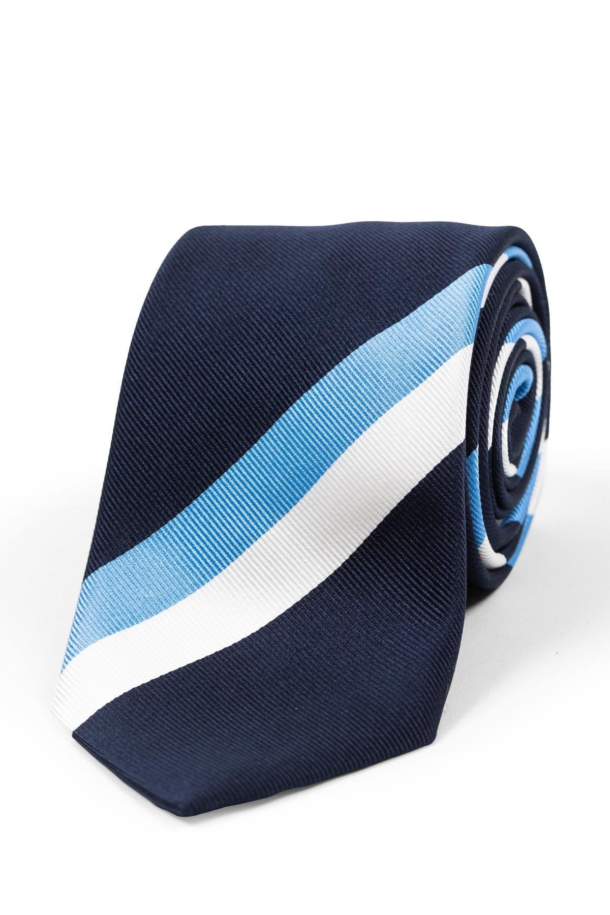 Navy Striped Silk Repp Tie