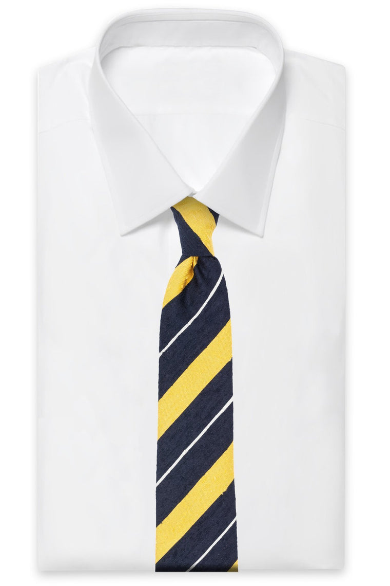 Navy Yellow Striped Shantung Tie