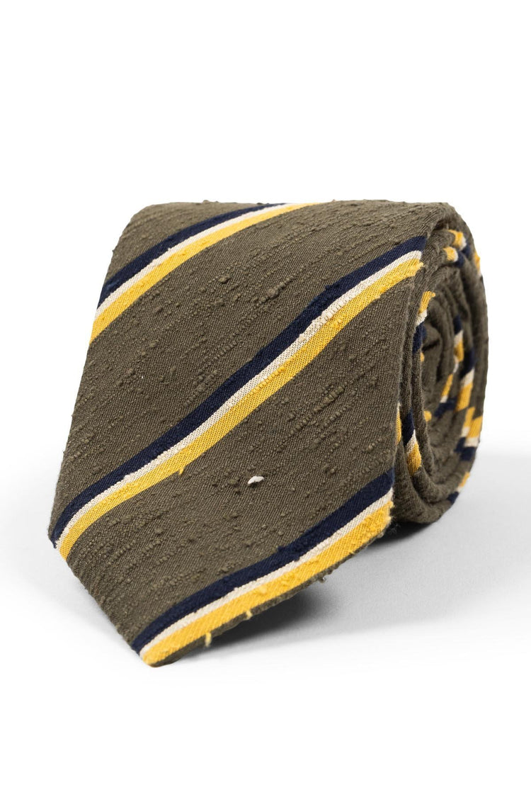 Olive Green Yellow Striped Shantung Tie