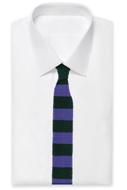 Purple Green Silk Knit Tie