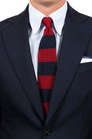 Red Navy Block Silk Knit Tie