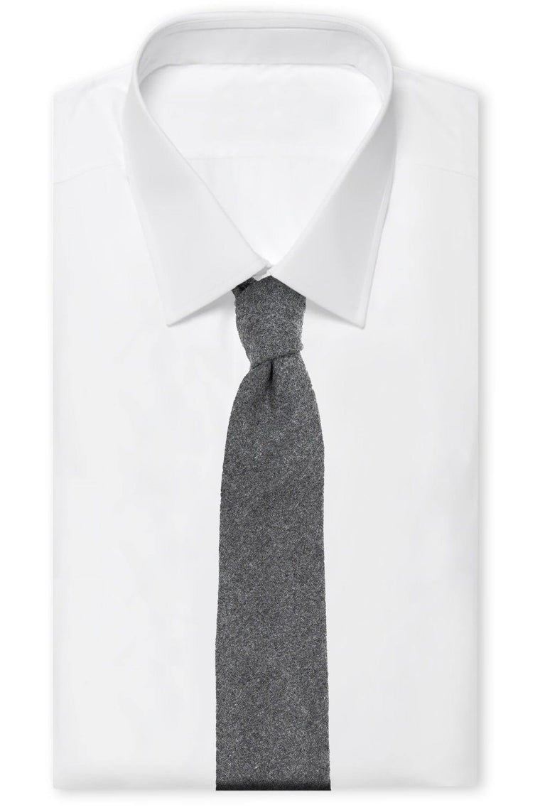 Solid Grey Wool Tie