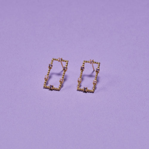RECTANGLE CRYSTAL EARRING