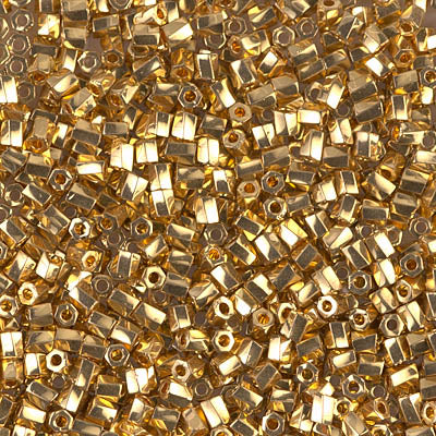 10C-TW-191 - Miyuki 10/0 Twisted Hex Cut Bead 24kt Gold Plated | 25 Grams
