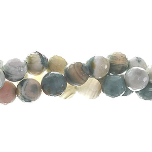 GM-0020 -10mm Ocean Green Faceted Agate Gemstone Bead Strand | 1 Strand