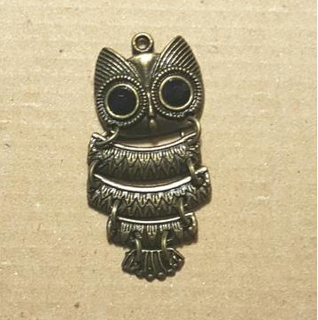AB-0234 - Antique Brass Pewter Owl Pendant With Black Stones,20x45mm | Pkg 2
