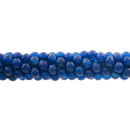 GM-0006 - 6mm Blue Agate Faceted Gemstone Bead Strand | 1 Strand