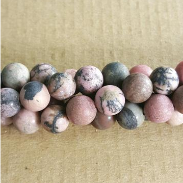 "GM-0665 - 8mm Matte Rhodonite Gemstone Beads | 16"" Strand"