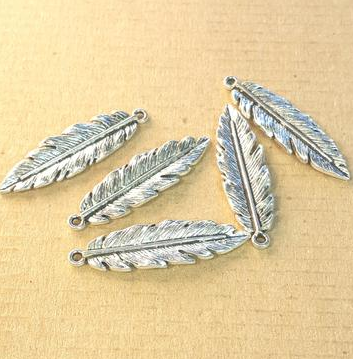 AB-0127 - Silver Pewter Medium Feather Pendant, 12x40mm | Pkg 5